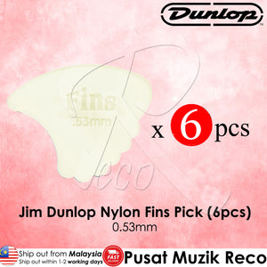 6 X Jim Dunlop Nylon Fins Guitar Pick 0.53mm - Reco Music Malaysia