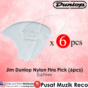 6 X Jim Dunlop Nylon Fins Guitar Pick 0.67mm - Reco Music Malaysia