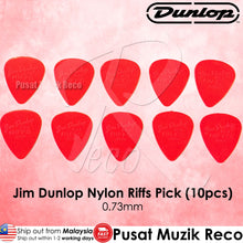 Load image into Gallery viewer, Jim Dunlop 4350 Nylon Riffs Guitar Pick 0.73mm Red