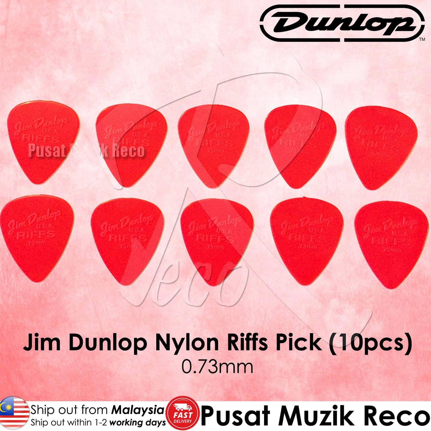 Jim Dunlop 4350 Nylon Riffs Guitar Pick 0.73mm Red