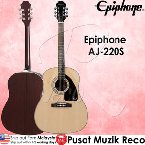 Epiphone AJ220S AJ-220S Solid Top Acoustic Guitar Natural - Reco Music Malaysia