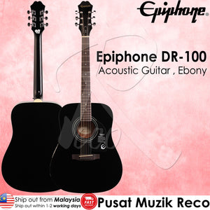 Epiphone DR-100 EB Acoustic Guitar Dreadnought Ebony  - Reco Music Malaysia