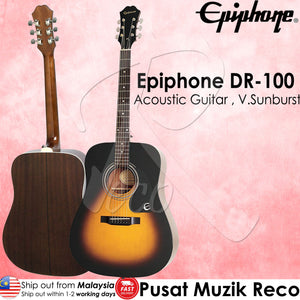 Epiphone DR-100 VS Acoustic Guitar Dreadnought Vintage Sunburst - Reco Music Malaysia