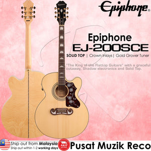 Epiphone EJ-200SCE Natural Solid Top Acoustic-Electric Guitar | Reco Music Malaysia