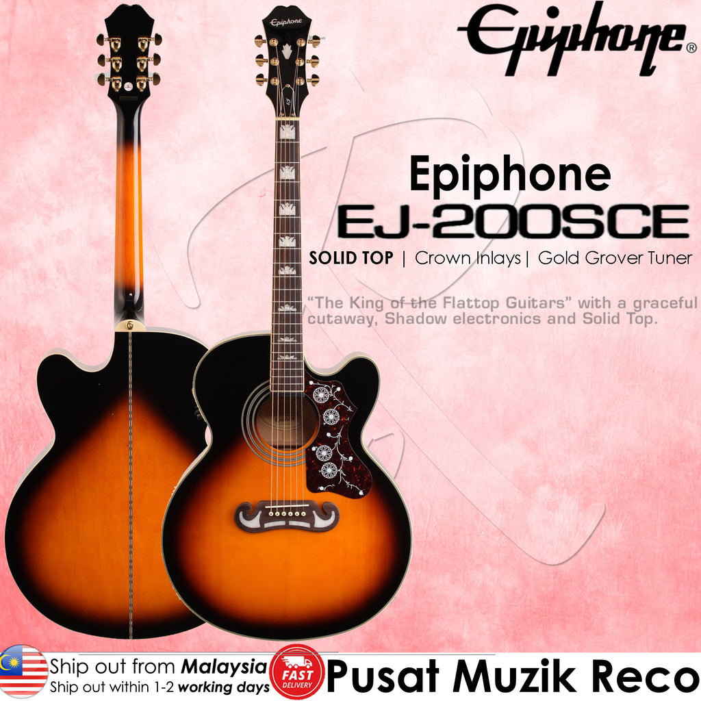 Epiphone EJ-200SCE Vintage Sunburst Solid Top Acoustic Guitar - Reco Music Malaysia