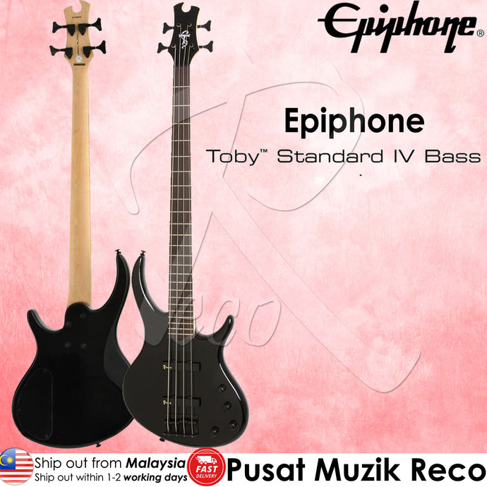 Epiphone Toby Standard-IV 4-String Bass Guitar , Ebony | Recomusic