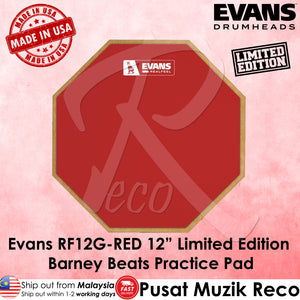Evans RF12G Red 12in Limited Edition Barney Beats RealFeel Drum Practice Pad - Reco Music Malaysia