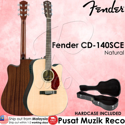 Fender CD-140SCE Solid Top 6-String Acoustic-Electric Guitar with Case,Natural (CD140SCE) | Reco Music Malaysia