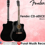 Fender CD-60SCE BK Solid Top Acoustic-Electric Guitar, Black | Recomusic