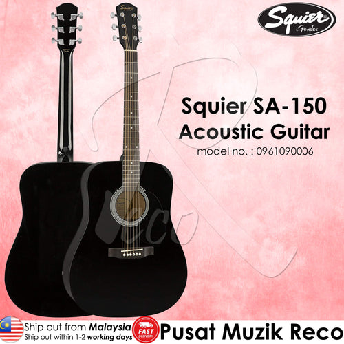 Fender Squier 0961090006 SA-150 Black Dreadnought Acoustic Guitar - Reco Music Malaysia