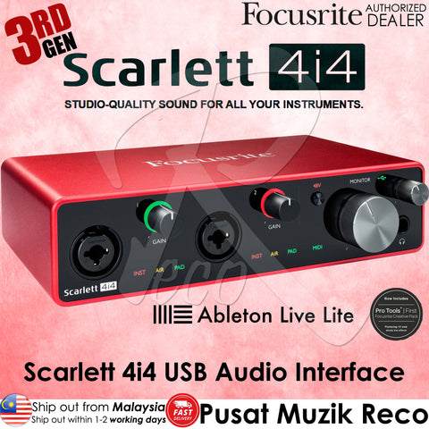 Focusrite Scarlett 4i4 4-in/4-out 3RD GEN USB-C Audio Interface | Reco Music Malaysia