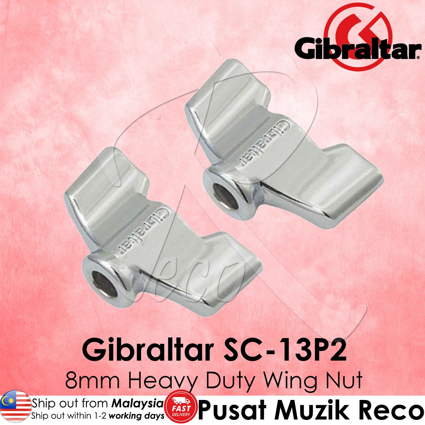 Gibraltar SC-13P2 8mm Heavy-Duty Wing Nut (2/Pack) | Reco Music Malaysia