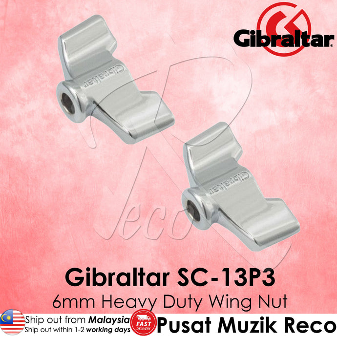 Gibraltar SC-13P3 6mm Chrome Heavy-Duty Wing Nut - 2/Pack | Reco Music Malaysia