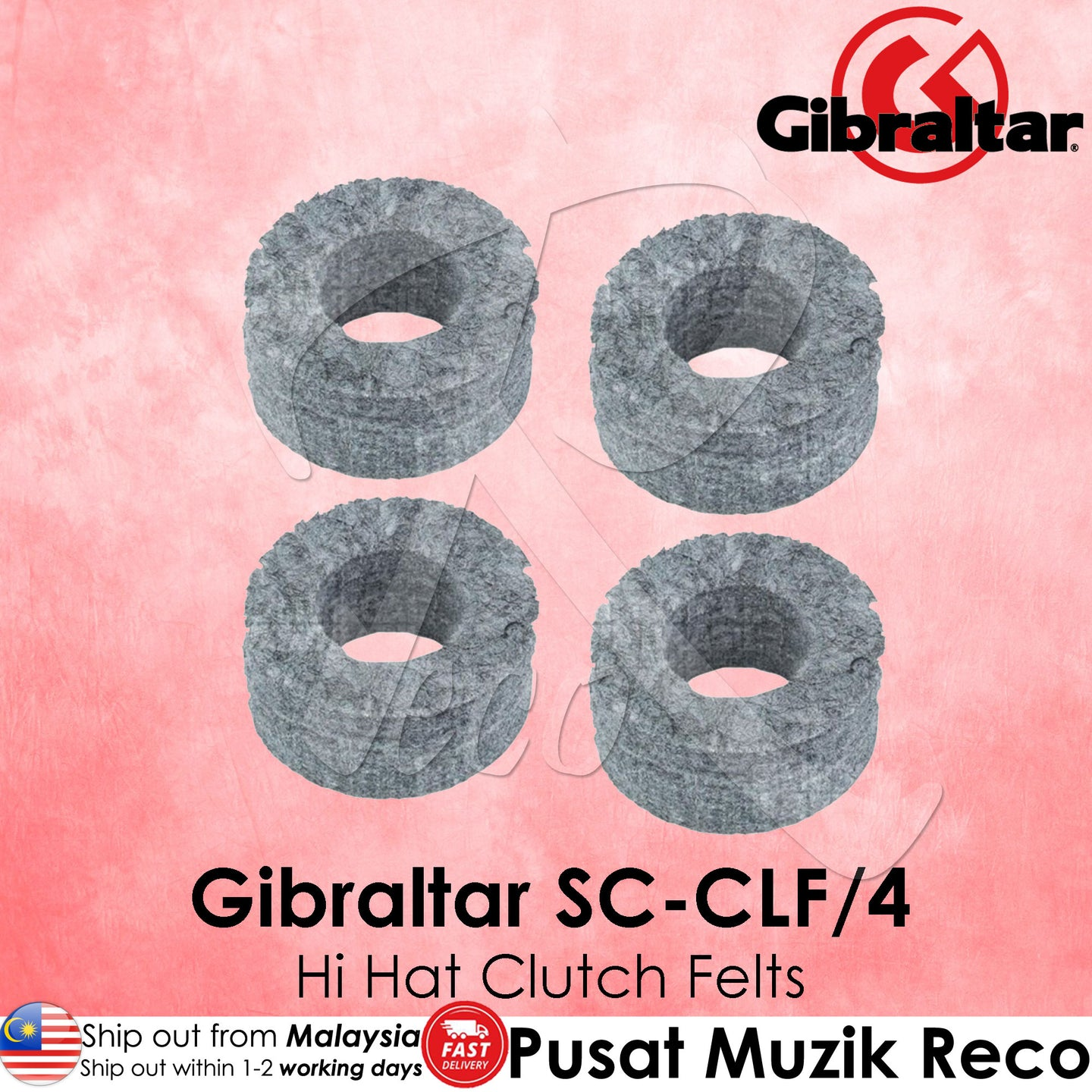 Gibraltar SC-CLF/4 Hi-Hat Clutch Felts 4/Pack | Reco Music Malaysia