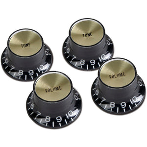 Gibson PRMK-020 Top Hat Knobs w/Metal Insert - Black w/Gold - Recomusic
