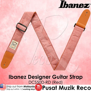 Ibanez DCS50D-RD Red Designer Collection Guitar Strap - Reco Music Malaysia