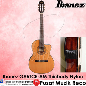 Ibanez GA5TCE Thinline Amber High Gloss Classical Acoustic-Electric Guitar - Reco Music Malaysia