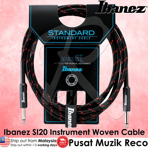 Ibanez SI20 BW Standard Woven Guitar Cable 20ft - Black Red - Recomusic