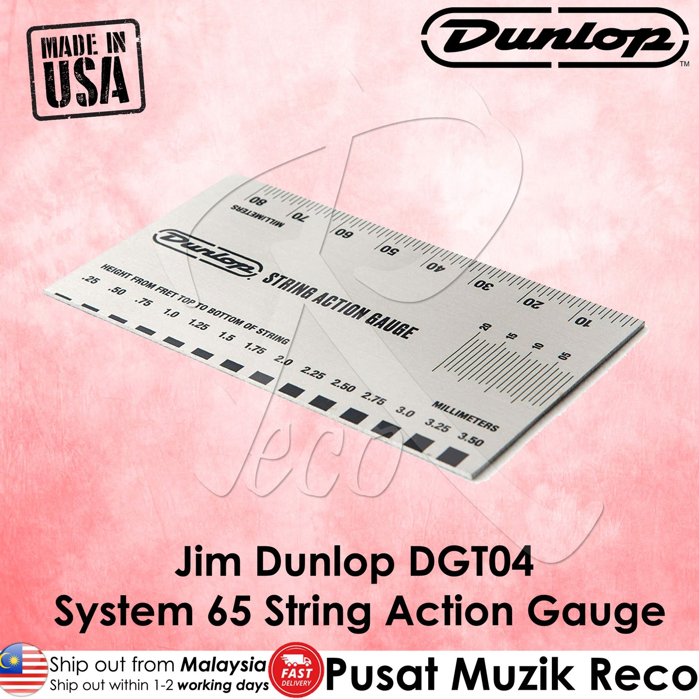 Jim Dunlop DGT04 System 65 Guitar String Action Gauge | Reco Music Malaysia