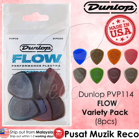 Jim Dunlop PVP114 Pick Flow Guitar Pick Variety Pack (8pcs) | Reco Music Malaysia