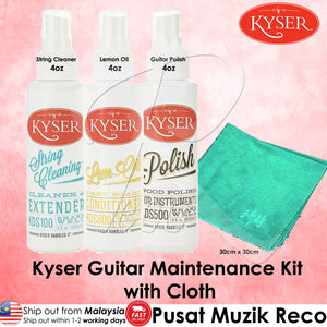 Kyser Guitar Maintenance Kit SET with Cloth Kyser Guitar String Cleaner + Lemon Oil + Body Polish - Reco Music Malaysia