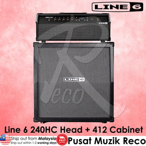 Line 6 Spider V 240HC Electric Guitar Amp Head + 412 Cabinet 240W 4x12 - Reco Music Malaysia