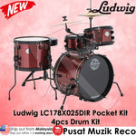 "Ludwig LC178X025DIR Pocket Kit 4-Piece Drum Kit with 16"" Bass Drum - Red Wine Sparkle 