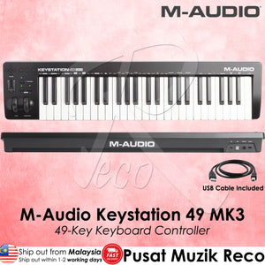 M-Audio Keystation 49 MK3 49 Full-sized Key USB MIDI Keyboard Controller - Reco Music Malaysia