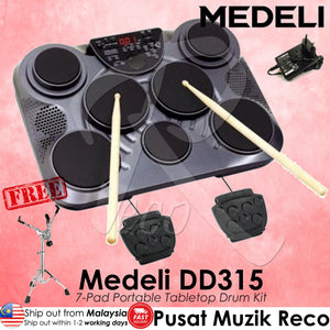 Medeli DD315 Portable Table Drum with 7 Pads, Touch Sensitive, 2 Pad Pedals - Reco Music Malaysia