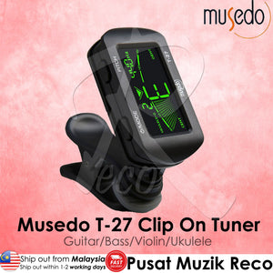 Musedo T-27 Rotatable LCD Digital Clip On Tuner for Chromatic Guitar Bass Ukulele Violin - Reco Music Malaysia