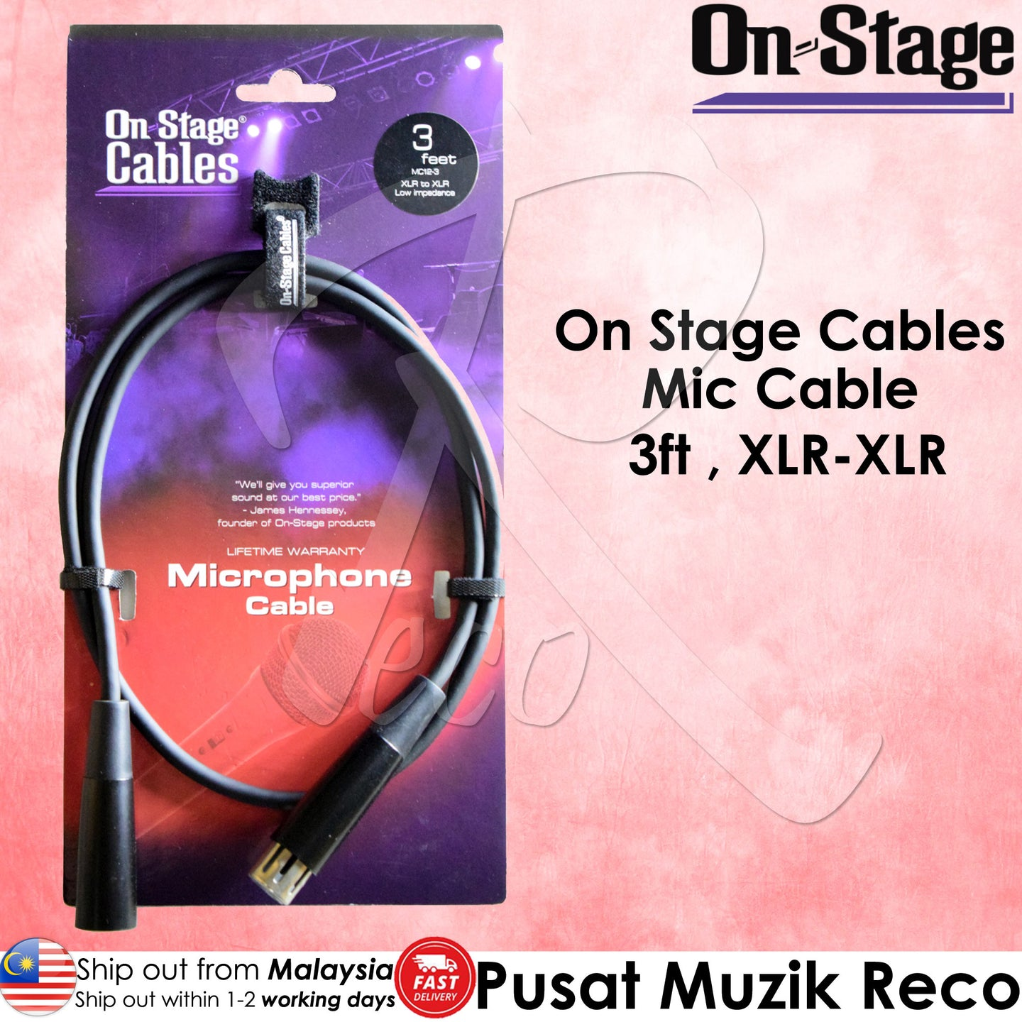 OSS MC12-3 Microphone Mic Cable 3ft XLR-XLR | Reco Music Malaysia