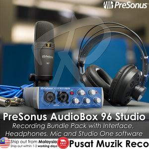 PreSonus AudioBox 96 Studio Recording Bundle Package with Interface, Headphones, Microphone and Studio One software - Reco Music Malaysia