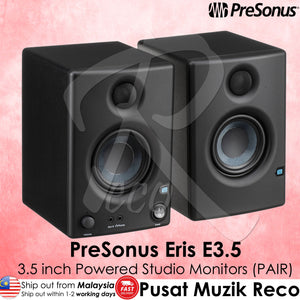 PreSonus Eris E3.5 3.5 inch Powered Studio Monitor Speaker PAIR - Reco Music Malaysia