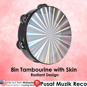 RM 8 Inch Wooden Radiant Tambourine with Skin Double Row Jingles | Reco Music Malaysia