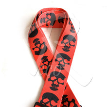 Load image into Gallery viewer, RM Designer Polyester Guitar Strap - Red Skull - Recomusic