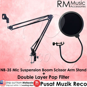 RM NB-35 Microphone Suspension Boom Scissor Arm Desktop Stand + Double Layer Pop Filter Wind Screen - Reco Music Malaysia