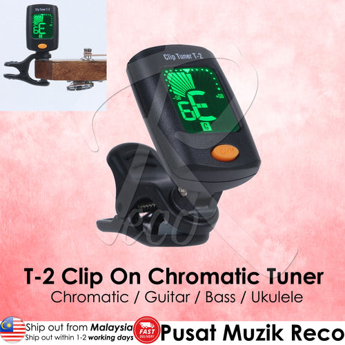 RM T-2 Chromatic Clip On Tuner Guitar Bass Ukulele - Reco Music Malaysia