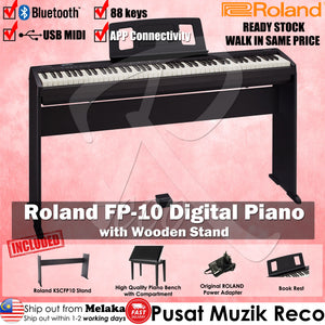Roland FP-10 FULL SET 88 keys Digital Piano with Bench, Wooden Stand, DP-2 Pedal, Note Stand and Adapter - Reco Music Malaysia