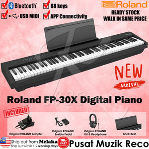 Roland FP-30X 88 keys Digital Piano W/ RH-5 Headphone & DP-2 Pedal - Black - Reco Music Malaysia