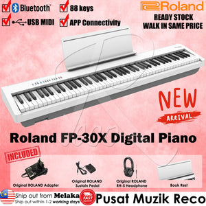 Roland FP-30X 88 keys White Digital Piano W/ RH-5 Headphone & DP-2 Pedal - Reco Music Malaysia