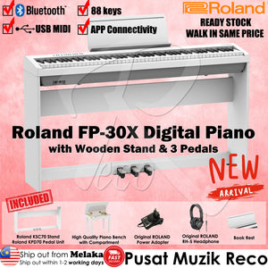 Roland FP-30X White 88 keys Digital Piano W/ Bench Headphone 3 Pedals Stand - Reco Music Malaysia