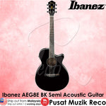 Ibanez AEG8E BK Semi Acoustic Guitar - Black - Recomusic