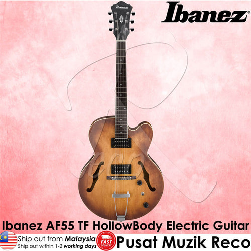 Ibanez Artcore AF55 TF Hollow Body Electric Guitar - Tobacco Flat - Recomusic