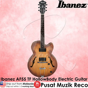 Ibanez Artcore AF55 TF Hollow Body Electric Guitar - Tobacco Flat - Reco Music Malaysia