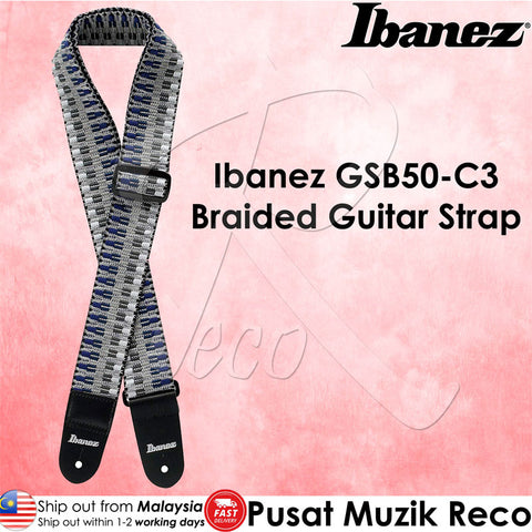 Ibanez GSB50 C3 Braided Guitar Strap Blue Grey - Recomusic