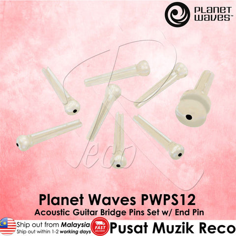 Planet Waves PWPS12 Acoustic Guitar Bridge Pins End Pin Set - Recomusic