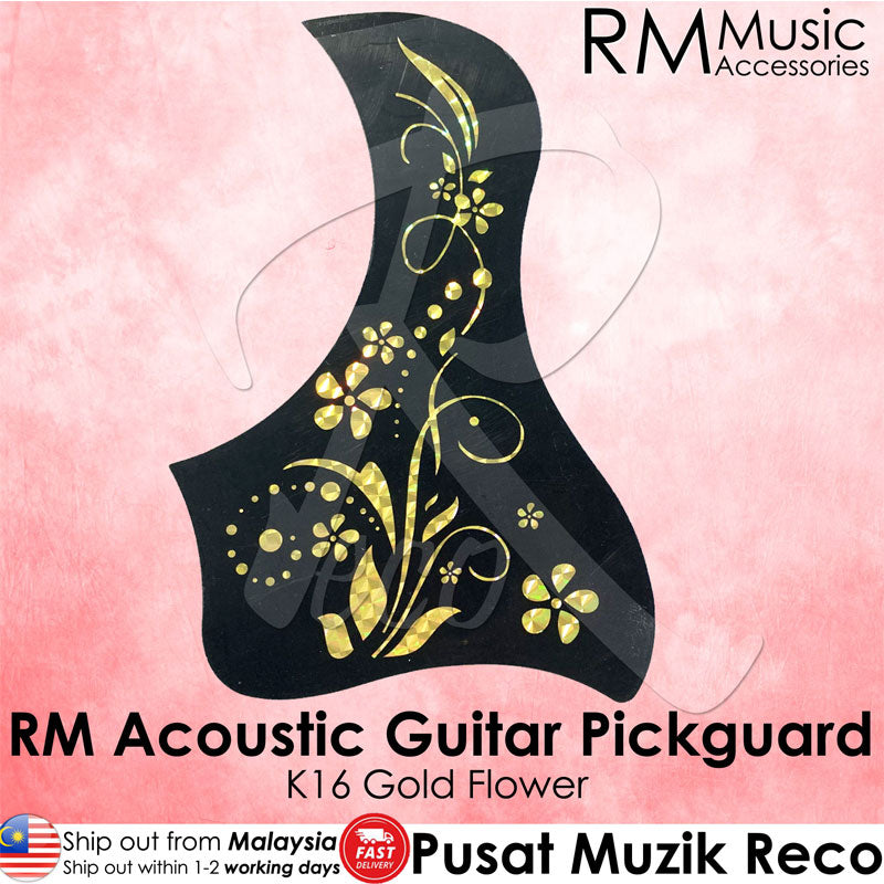 RM Acoustic Guitar Pickguard - K16 Gold Flower - Recomusic