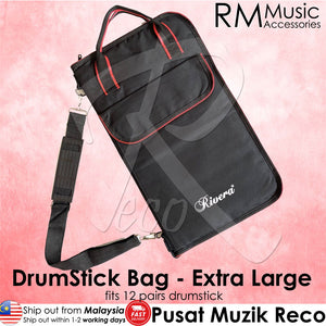 RM Extra Large Padded Drumstick Bag Stick Holder - Hold 12 Pairs Drumstick - Reco Music Malaysia