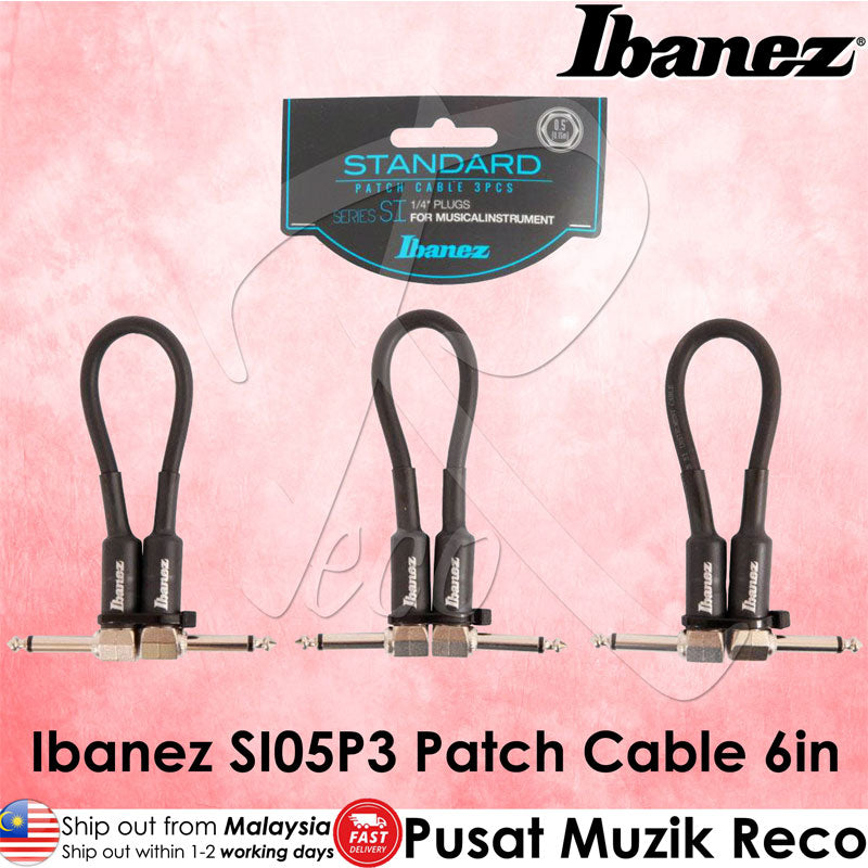 Ibanez SI05P3 Guitar Patch Cable Pack of 3 , 2 Right Angled 0.5ft - Recomusic