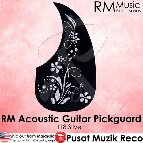 RM Acoustic Guitar Pickguard - I16 Silver Flower - Recomusic